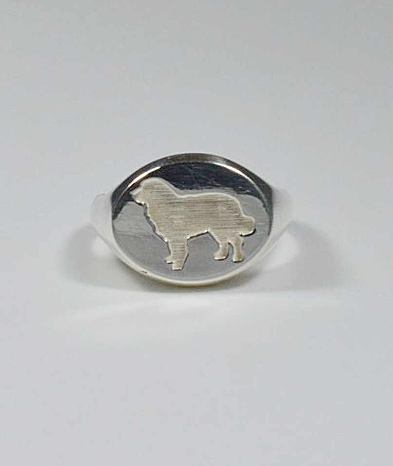 Chevalier ring in argentoo with oroen breed dog silhouette in in in basrelief Luce ee6