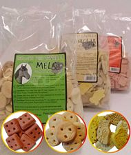 Set assaggio 3 pacchetti di biscotti per cavalli gusti mela, carota, vaniglia e cereali