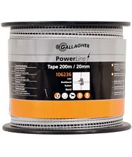 Fettuccia Power line professionale Gallagher da 2 cm in bobina da 200 m con 5 conduttori inox da 0.15mm + 1 in rame da 0.25 mm