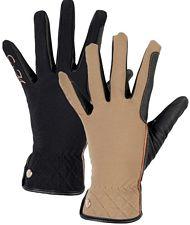 Guanti donna in tessuto tecnico softshell modello Siena con finforzo sulle dita in finta pelle scamosciata