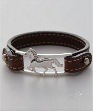 Bracciale cinturino pelle cavallo realizzato a mano in argento titolo 925