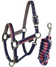PROMOZIONE Cavezza per cavalli doppia regolazione con imbottitura pile e fibbie satinate�Red Trim BLU NAVY GRIGIO FULL