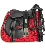 PROMOZIONE Set sella inglese Pro Light doppia imbottitura completa di briglia, staffili, sottopancia sottosella e staffe rosso