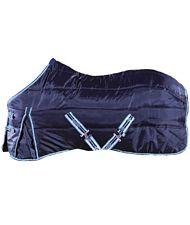 PROMOZIONE Coperta da scuderia in tessuto poliestere 420Den. e imbottitura 150g, cinturini anteriori e protezione al garrese BLU 145